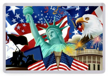 Iconic Symbols of America Fridge Magnet. White House, Stars & Stripes, Bald Eagle, Statue of Liberty